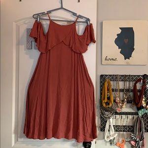 Blush cold shoulder high neck dress
